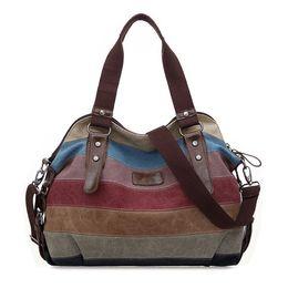 Blocco di colore della borsa online-FGGS moda vintage donna spalla blocco colore borsa di tela tote messenger borsa della signora borsa Y1891204