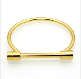 Wholesale Stainless Bracelet Shackle - Fashion Shackle Screw Cuff Bracelet Gold Color Stainless Steel Bracelets Bangles For Women