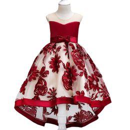 long tail Girls Dresses Autumn Winter Kids Long Sleeve Lace Flower Dress  Children Performance Christmas Wedding Dresses baby dress 71a2318f1228