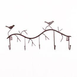 Wholesale Birds Hats - High Quality Bird 5 Hooks Coat Hat Bag Hanger Decor Wall For Home Kitchen Bathroom