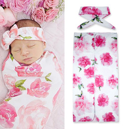 Wholesale Multi Color Floral Bedding - Wholesale- 2017 Tiny Cottons Newborn Baby Blanket Bedding Accessories Muslin Swaddle Floral Print Headband 2pcs Clothes Photography Props