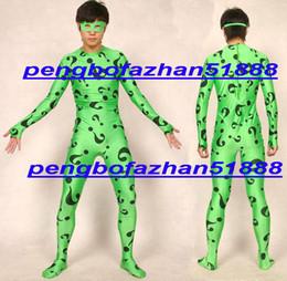 2019 corpos de fantasia Unisex Super Hero Verde Riddler Trajes Lycra Spandex Verde Riddler Terno Catsuit Trajes Fantasia Irregularidade Problema Mark Body Suit P273 corpos de fantasia barato