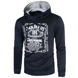 9b5cd5f1466bf Jack Daniels Hoodie hombres carta impresión 3D Hip Hop sudadera moda para hombre  sudaderas con capucha marca invierno algodón Pullover con capucha masculina  ...