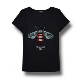 Canada Haute qualité marque femmes strass t-shirt abeille blingbling crystal femmes top t-shirts, plus la taille manches courtes tops pour l'été Offre