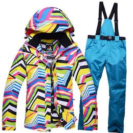 дамы желтые куртки Скидка новый желтый зимняя одежда зебры дамы лыжные наборы Сноуборд костюм ветрозащитный теплая лыжная куртка + брюки с подтяжками хорошее качество
