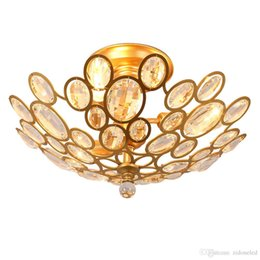 Wholesale Modern Cottage Decor - led chandelier light fixtures iron crystal ceiling lights E14 gold ceiling chandeliers light home decor 3 6 9 heads American village style