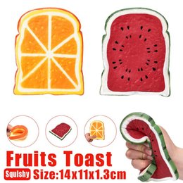 Wholesale bread fruit - 14cm Watermelon Orange Squishy Toast Scented Fruit Bread Slow Rising Squeeze Decompression Toy Novelty Items OOA5063