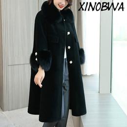 2019 пальто из овечьей шерсти Hot Women's Winter Single Beading Breasted Natural  Fur Collar Thick Warm Sheep Sheared Coats Female Loose 100%Wool Blends скидка пальто из овечьей шерсти