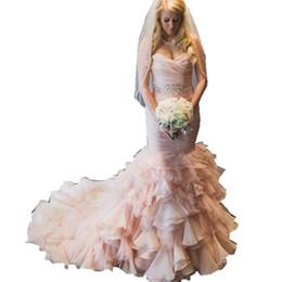 Abiti da sposa moda Novias Noble Sweetheart Mermaid Pink Abiti da sposa 2018 Custom Made robe New Crystal Wedding Gown da abiti da sposa in rilievo in corsetto in rilievo fornitori