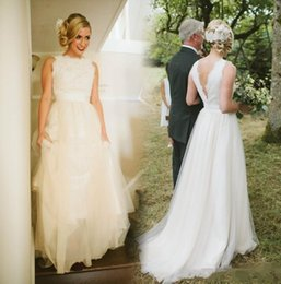 Wholesale Wedding Dresses For Outdoors - 2018 Vintage Long Country Wedding Dresses Custom Made Backless Court Train Plus Size Bridal Gowns For Garden Outdoor Wedding Dresses