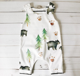 Wholesale Infant Clothes For Boys - 2017 Baby Bear And Tree Jumpsuit Boys Newborn Romper Infant Pattern Onesies Bodysuit Summer Clothes For 70-100cm