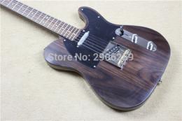 Wholesale custom tl - Rare George Harrison TL Tele Brown Electric Guitar Rosewood Body & Neck, String Thru Body, 3 Gold Brass Saddle Bridge, Custom Shop V Logo