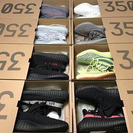 Wholesale M Boxes - 2017 Pirate Black Kanye West 350 V1 V2 Boost Gray Orange Blue Tint Yellow Zebra Bred Oreo Men Running Sneaker Shoes Box Receipt