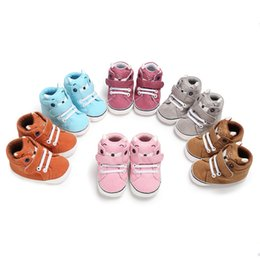 kids shoes pairs UK - 1 Pair Autumn Baby Shoes Kid Boy Girl Fox Head Lace Cotton Cloth First Walker Anti-slip Soft Sole Toddler Sneaker