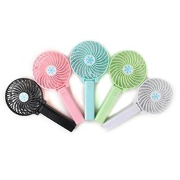 Wholesale Mini Electric Hand Fan - Handy Usb Fan Foldable Handle Mini Charging Electric Fans Snowflake Hand Held Portable For Home Office Gifts RETAIL BOX 5 Colors