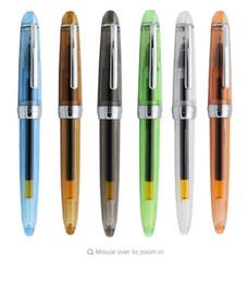 Pluma de escritura agradable online-Material de Oficina Escuela de 1pc / lot Jinhao transparente Gel Pen clip de plata agradable de la calidad 0.5mm Negro recarga de tinta Estudiante bolígrafos