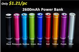 Wholesale Mobile Cell Phone Battery - Cheap Portable 2600mAh Cylinder Cell Phone Power Bank Shell External Backup Battery Charger Emergency Power Chargers for all Mobile Phones