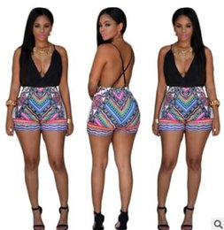Wholesale Sling Pants - Fashion women sexy jumpsuits shorts Print Sling Deep V pants Nightclub jumpsuit Bare back rompers one-piece overalls