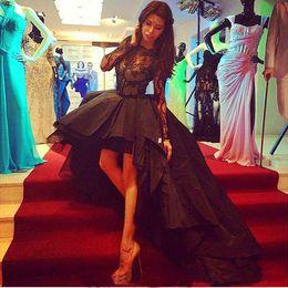 vestidos de cor preta Desconto Sexy High Low Prom Vestido Cor Preta Laço Mangas Compridas Formais Mulheres Desgaste Pageant Vestido de Festa Custom Made Plus Size