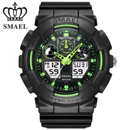 Wholesale Watch Double Time - SMAEL Men Sports Watches Digital Double Time Chronograph Watch Clock Watwrproof Week Display Wristwatches Relogio Masculino 1027