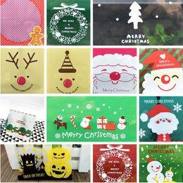 envoltura de regalo adhesivo Rebajas 100 unids / lote Cartoon Gift Bag Christmas Cookie DIY comida autoadhesiva Seal Packaging Bag Santa Claus Muñeco de nieve Galletas Wrap CCA10716 50lot