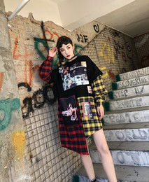 Wholesale Female Figure Abstracted - fashion top quality women's ladies females punk DJ night club Abstract figures Tang Hua irregular patchwork stitching long-sleeved shirts
