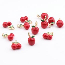 2019 colar de maçã de ouro Charms 50pcs Kawaii Fruit esmalte liga tom de ouro Red Apple cereja Charme Pendant Craft Fit Pulseira Moda Colar brinco DIY colar de maçã de ouro barato