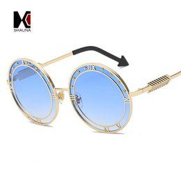Lente di orologio online-SHAUNA Unique Clock Sharp Women Round Occhiali da sole Oversize Fashion Men Blue Gradient Lens Glasses UV400