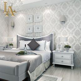 Europäischer stil tapeten rollen online-Großhandels-klassische europäische Art-Tapeten Dekor-prägeartiger Damast-Tapeten-Rollen-Schlafzimmer-Wohnzimmer-Sofa Fernsehhintergrund 3D