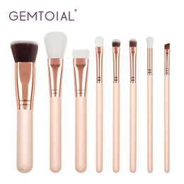 Spazzole sintetiche kabuki rosa online-Gemtotal Makeup Brushes Set 8-Pieces Foundation Concealer Kabuki Contour Blush Lip Powder Ombretto Capelli sintetici (rosa)