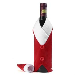 Wholesale cloth bags candles - Christmas Wine Bottle Cover Red Wine Bottle Gift Wrapping Bag for Happy Christmas Kitchen Tableware Decoration