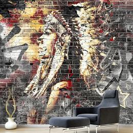 2019 paredes cubiertas de madera Custom Wallpaper Murals 3D Graffiti Art Wood Grain Brick Mural de pared Retro Characteristic Cafe Restaurant Papel tapiz de pared paredes cubiertas de madera baratos