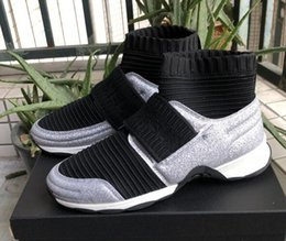 Wholesale Closed Looping - 2018 high quality fall winter womens black Stretch fabric with silver Glitter socks slip on flat Platform sneakers