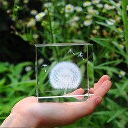 Wholesale Plant Processes - Crystals Dandelion 3D Plant Processing Decorative feng shui Sculpture figurines miniatures ornaments Crystal Craft Gift Decoration
