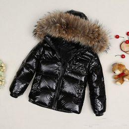 Manteau fourrure hiver enfant en Ligne-Manteau Parkas de manteau d'hiver de veste de filles / femmes des enfants avec le capuchon pour des filles chaudes épaisses en duvet vestes enfants chauds manteaux chauds de col de fourrure 100%
