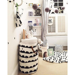 Wholesale Baby Home Shoes - Kids Baby Toys Storage Canvas Bags Storage Bucket Modern Style Toy Bucket Nordic Home Leather Handle Can Stand Canvas Bag