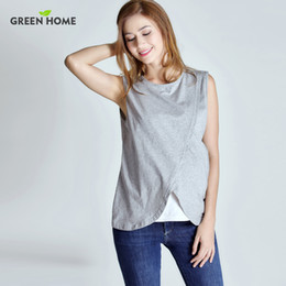 e19e81b0abb Green Home Two Layers Maternity Nursing Tops For Pregnant Women  Breastfeeding Pregnancy T-Shirt Funny Fashion Maternity Clothing
