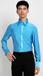 seide lange abendröcke Rabatt Latin Dance Shirts Männer 2018 Elastizität Langarm Herren Latein Shirts rot weiß schwarz blau Tops Herren