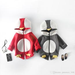 Pingüino sudaderas online-INS 2 color 2018 nuevo estilo primavera otoño Estilo Lindo pequeño pingüino espacio algodón manga larga con capucha suéter envío gratis