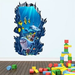 Wholesale underwater wall art - Cartoon Shark 3D Underwater Wall Sticker PVC Removable Fish Wall Art Mural for Living Room Kids Room and Nursery Decoration