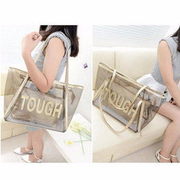 Wholesale Transparent Jelly Purses - Women Handbags Purse Solid Casual Tote Shoulder Bag Jelly Crystal Transparent Composite Bags Teenager Girls Small Beach Bag 2018
