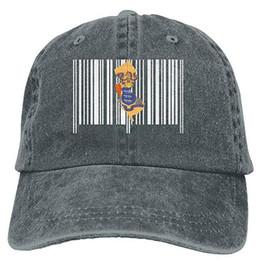 Maillots de baseball unisexe en Ligne-Sports Denim Cap New Jersey State Barcode Unisexe Baseball Cap Lavé Denim Cap
