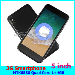 Wholesale Cheap Smart Phones 3g - Cheap X 3G 5 inch Smart phone Android 6.0 MTK6580 Quad Core 1GB RAM 4GB ROM Dual SIM Mobile Cell Phones Smart-wake