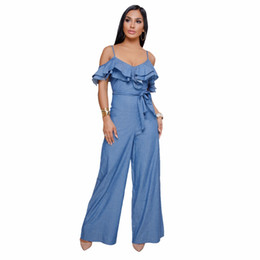 40db09daec41 Elegant Summer Denim Jumpsuits Women Strap Off Shoulder Ruffles Wide Leg Jumpsuit  Casual Loose Pants Rompers Sexy Jeans Overalls