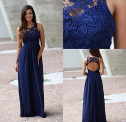 Wholesale Dresses For Bride Maids - Country Royal Blue Brides Maid Bridesmaids Dresses 2018 Sheer Lace Sleeveless Backless Long Full Length Party Gown for Weddings BA7668
