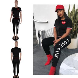 Wholesale girl clothes leggings - LOVE Pink Women Tracksuit Jogger Outfit PINK Letter Short Sleeve Tops Pullover T shirt + Leggings Pants Jogging Clothing Sportwear