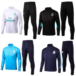 Wholesale Yellow Sweat Suits - Soccer tracksuits 2018 Best quality survetement football Marseille Real Madrid training suit sweat top soccer jogging football track