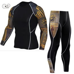 Wholesale Mma Skin - Wholesale-Mens Sports Running Set Compression Shirt + Pants Skin-Tight Long Sleeves Fitness Rashguard MMA Training Clothes Gym Yoga Suits