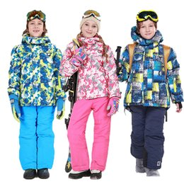 Wholesale Orange Snowboarding Jackets - -30 Degree Kids Waterproof Ski Jacket Ski Pants Thick Camouflage Warm Snowboarding Suit for Boys and Girls Windproof Breathable