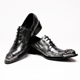 Herren graue kleid schuhe online-New Grey Mens Dress Schuhe Wohnungen Echtes Leder Hochzeitsschuhe Mens Formal Business Schuhe für die Arbeit